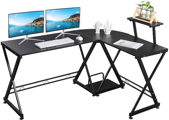 8. GreenForest L Shaped Office Computer Corner Gaming Desk with Moveable Shelf, PC Table Workstation for Home Office, Black