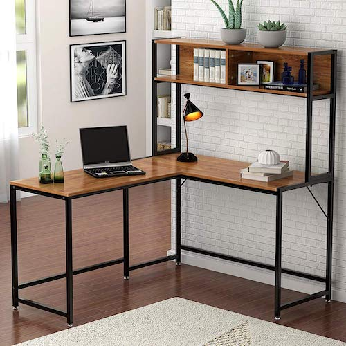 1. Tribesigns L-Shaped Desk with Hutch, 55