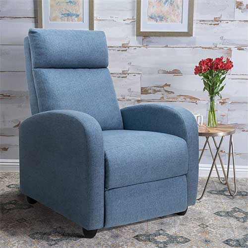 5. Tuoze Fabric Recliner Chair Ergonomic Adjustable Single Sofa with Thicker Seat Cushion Modern Home Theater Seating for Living Room (Blue)