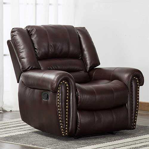 9. ANJ Leather Recliner Chair Breathable Bonded, Classic and Traditional 1 Seat Sofa Manual Recliner Chair, Smoke Gray
