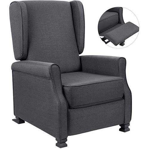 10. Fabric Recliner Chair Modern Wingback Single Sofa Medieval Living Room Arm Chair Home Theater Seating Push Back Club Chair Reclining (Gray)