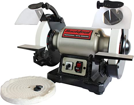 8. BUCKTOOL 8-Inch Bench Grinder Professional Power Tools Dual Speed Cast Iron Base TDS-200DS