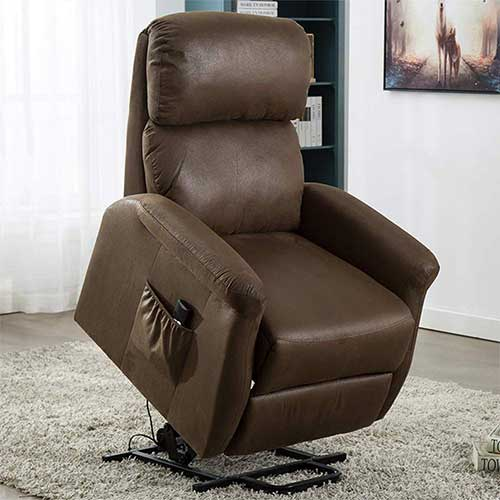 7. Bonzy Home Power Lift Recliner Chair, 3 Position & Side Pocket, Soft Fabric Recliner (Chocolate)