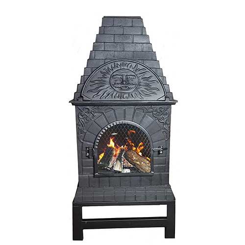 Best Outdoor Pizza Ovens 10. The Blue Rooster Cast Iron Casita Wood Burning Chiminea in Charcoal.