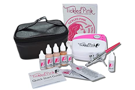 7. Tickled Pink Cosmetic Airbrush Makeup Kit with 89% Organic Water Based Makeup Infused with Organic Aloe Juice (Medium)