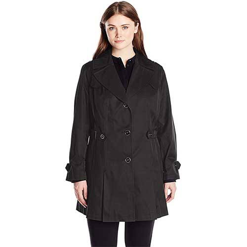 5. Via Spiga Women's Plus-Size Single-Breasted Pleated Trench Coat