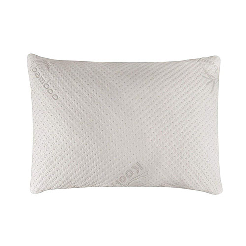 1. Snuggle-Pedic Ultra-Luxury Bamboo Shredded Memory Foam Pillow Combination With Adjustable Fit and Zipper Removable Kool-Flow Breathable Cooling Hypoallergenic Pillow Cover (Queen)