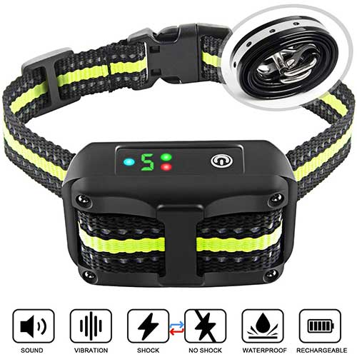 1. ANKACE Bark Collar 2019 Upgrade Version No Bark Collar Rechargeable Anti-bark Collar with Beep Vibration and No Harm Shock Smart Detection Module Bark Collar for Small Medium Large Dog