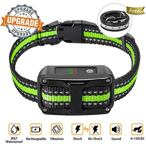 3. [Newest 2019] Dog Bark Collar-5 Adjustable Sensitivity and Intensity Levels-Dual Anti-Barking Modes-Rechargeable/Rainproof/Reflective -No Barking Control Dog shock Collar for Small Medium Large Dog