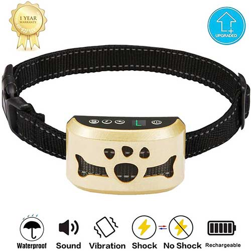 9. TOTIE Dog Bark Collar -7 Adjustable Sensitivity and Intensity Levels-Dual Anti-Barking Modes Rechargeable/Rainproof/Reflective -No Barking Control Dog Shock Collar for Small Medium Lar (Gold)