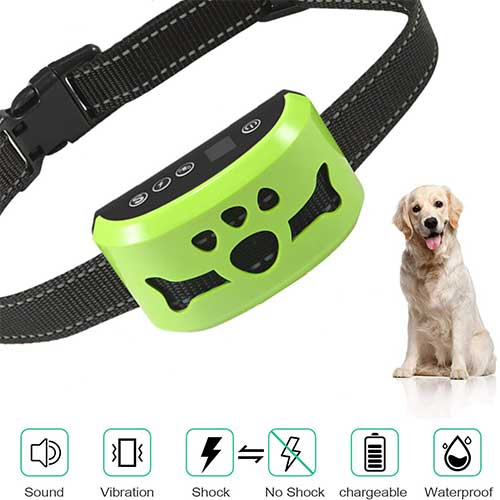 7. Dog No Bark Collar with Smart Detection Vibration and Harmless Shock- Rechargeable Anti Barking Device for Small Medium and Large Dog