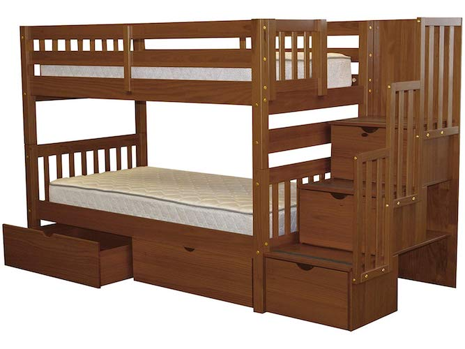 10. Bedz King Stairway Bunk Beds Twin over Twin