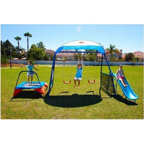 3. Kids Outdoor Playground Includes Trampoline, Swings and Slide