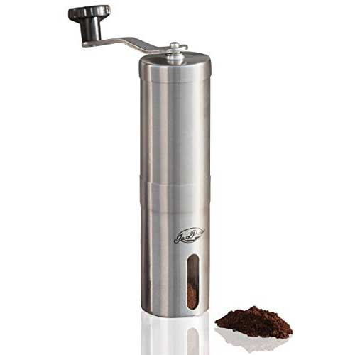 Best Cheap Burr Grinders 4. JavaPresse Manual Coffee Grinder, Conical Burr Mill, Brushed Stainless Steel