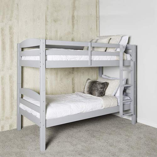 4. WE Furniture AZWSTOTGY Classic Wood Twin Bunk Kids Bed Bedroom, Gray