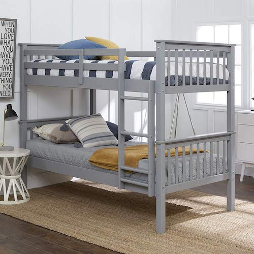 8. WE Furniture Twin Bunk Bed, Gray