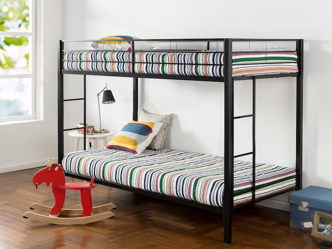 3. Zinus Aileene Easy Assembly Quick Lock Twin over Twin Classic Metal Bunk Bed