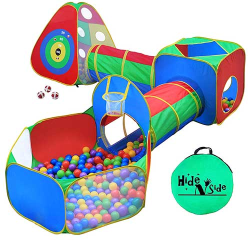 4. 5pc Kids Ball Pit Tents and Tunnels, Toddler Jungle Gym Play Tent with Play Crawl Tunnel Toy