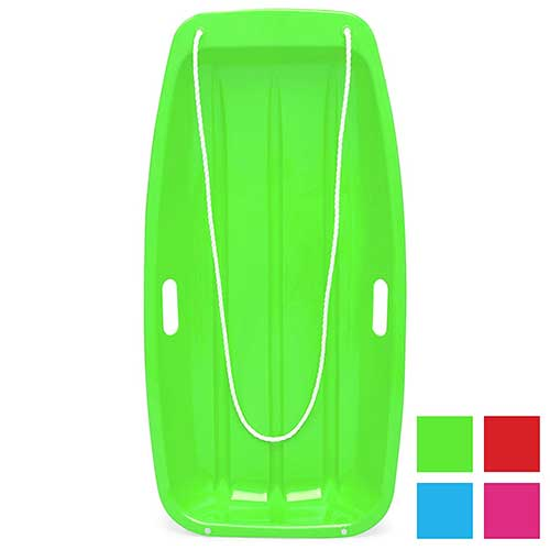 9. Best Choice Products 35in Kids Plastic Sport Toboggan Snow Sled w/Pull Rope