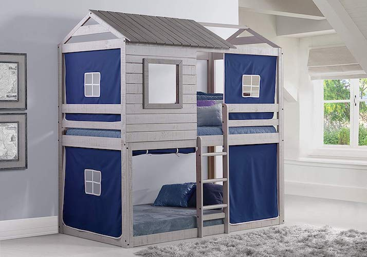 5. Donco Kids Deer Blind Bunk Loft Bed Tent, Twin/Twin, Light Grey/Blue