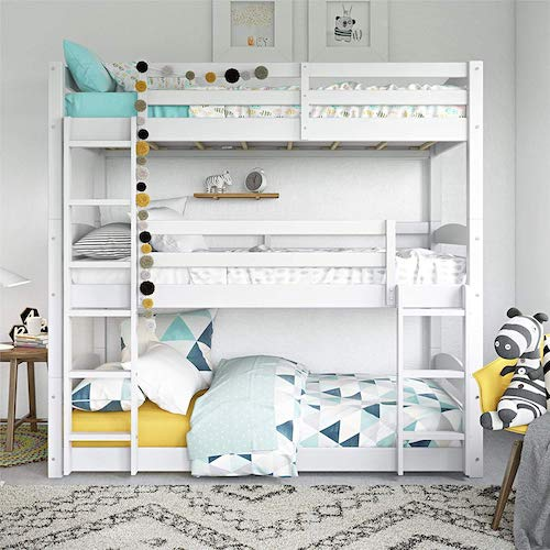 6. Dorel Living Phoenix Triple Floor Bunk Bed, White