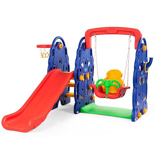 1. Costzon Toddler Climber and Swing Set, Junior Basketball Hoop Playset for Both Indoors & Backyard (4-in-1 Slide & Swing Set)