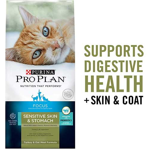 5. Purina Pro Plan Focus Sensitive Skin & Stomach Adult Dry Cat Food