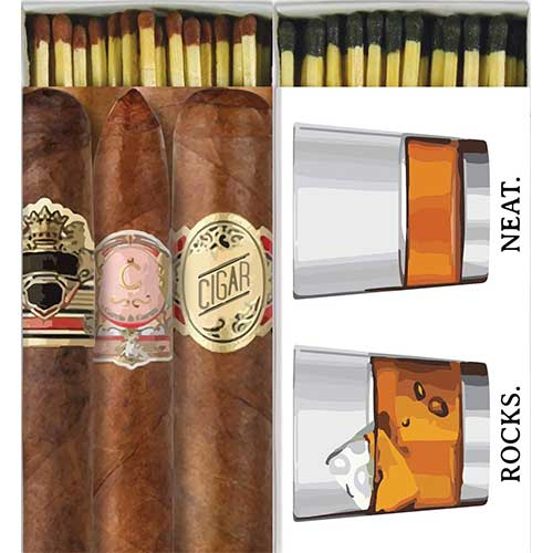 Best Strike Anywhere Matches 6. Decorative Whiskey and Cigars Match Boxes| Set of 2 Large Match Boxes by Box & Bean