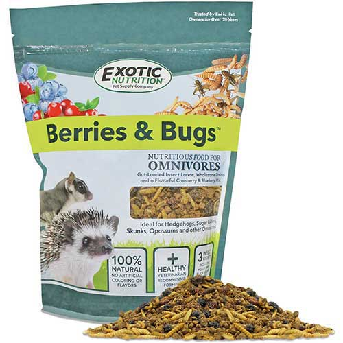 5. Exotic Nutrition Berries & Bugs - All Natural High Protein High Fiber Food for Hedgehogs, Skunks, Opossums, Sugar Gliders - Universal Insectivore Diet with Fruit, Gut-Loaded Insects, Healthy Vitamins