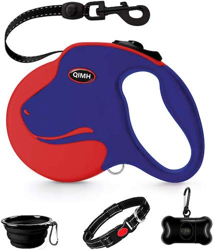 10. QiMH Retractable Dog Leash, 360° Tangle-Free Heavy Duty 16ft Reflective Walking Dog Leash Ribbon