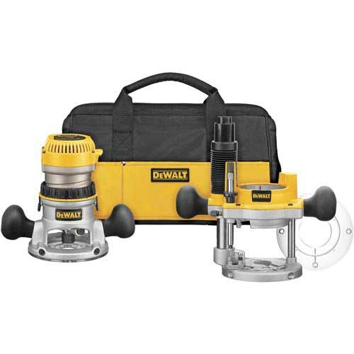 Best Woodworking Routers 8. DEWALT DW618PKB 2-1/4 HP EVS Fixed Base/Plunge Router Combo Kit with Soft Start