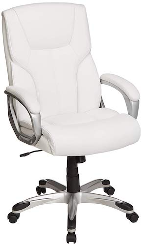 1. AmazonBasics High-Back Executive Swivel Office Desk Chair - White with Pewter Finish