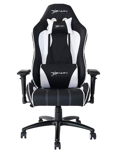 1. Ewin Gaming Chair Champion Series 4D Adjustable Armrests Memory Foam Ergonomic High-Back PU Leather Racing Executive Computer Office Chair CPB-White