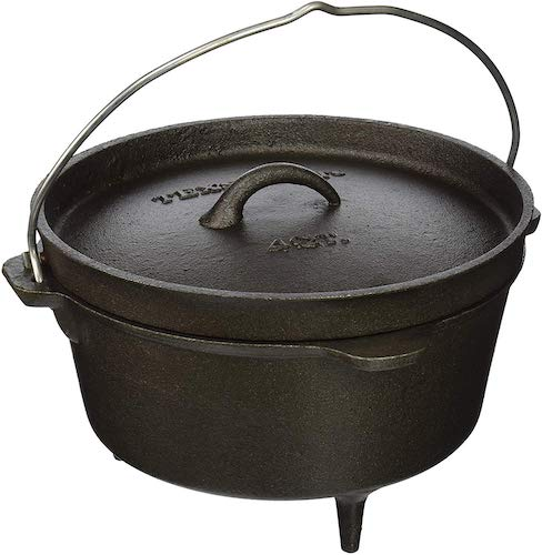 9. Texsport Cast Iron Dutch oven with Legs, Lid, Dual Handles and Easy Lift Wire Handle.