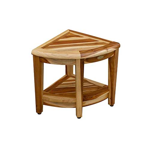 7. EcoDecors Oasis Teak Corner Shower Bench with Shelf, Natural