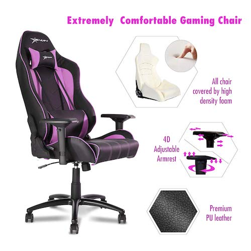 10. Ewin Gaming Chair Champion Series 4D Armrests Recliner Memory Foam Ergonomic High-Back PU Leather Racing Executive Computer Office Chair CPB-Pink