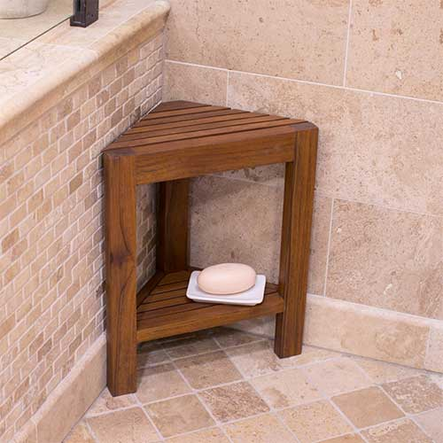 9. Belham Living Corner Teak Shower Bench with Shelf