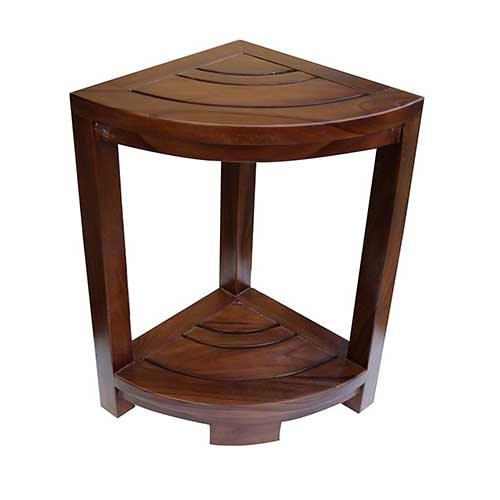 4. ALATEAK Corner Teak Wood Bath Spa Shower Stool Corner Table Bench Stool Fully Assembled Brown