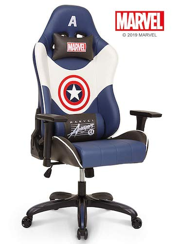 6. Neo Chair Licensed Marvel Captain America Gaming Chair 400 lb High End Ergonomic Leather Racing Chair, White