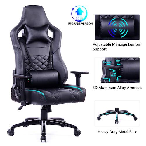 3. Blue Whale Gaming Chair Large Size Racing PC Computer Gaming Chair Video Game Chair with Massager Lumbar Support (Black)