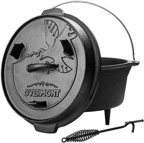 1. Overmont Camp Dutch Oven 11.2x11x8in All-round Cast Iron Casserole Pot Dual Function Lid Skillet Pre Seasoned