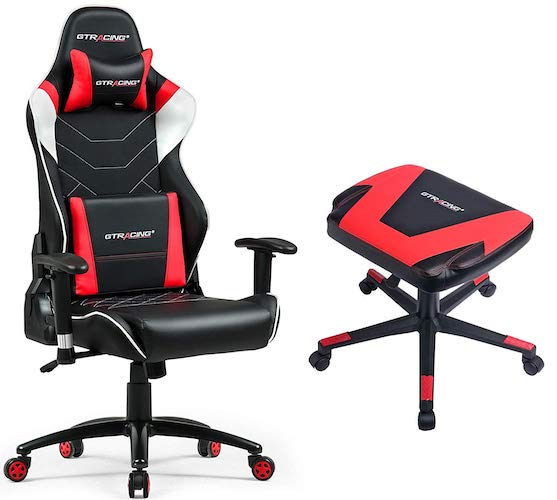 9. GTRACING Audio Gaming Chair with Bluetooth Speakers 【Patented】 GT899 Red Chair and Stool Set
