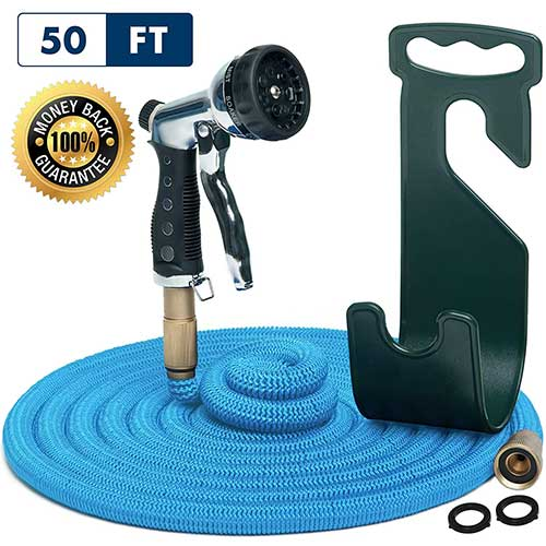 7. Water Hose – Small Expandable Garden Hose - Hose Holder and High Pressure Washer Hose Spray Nozzle
