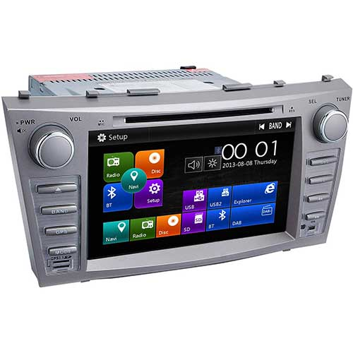 9. Camry Car Stereo DVD Player-Double Din in-Dash, Multimedia Receiver with Touchscreen, Built-in Bluetooth, MP3 Player, GPS Navigation, SD, AUX Input, Radio Receiver (Function Machine)