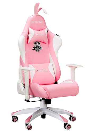 7. AutoFull Pink Gaming Chair PU Leather High Back Ergonomic Racing Office Desk Computer Chairs with Massager Lumbar Support