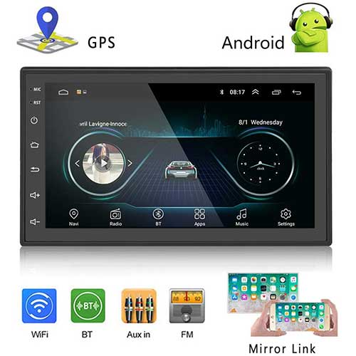 2. Podofo Car GPS Navigation Stereo - Double Din Android Head Unit with Bluetooth 7 inch LCD Touch Screen 1G + 16G Support FM Radio/Backup Camera/WiFi/GPS Navigation