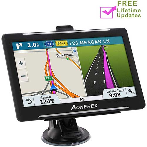 3. Car Navigation 7 inch Touch Screen + 8GB Aonerex Vehicle GPS Navigation System with Built-in Lifetime Maps, FM Car Navigation and Spoken Turn-by-Turn Directions