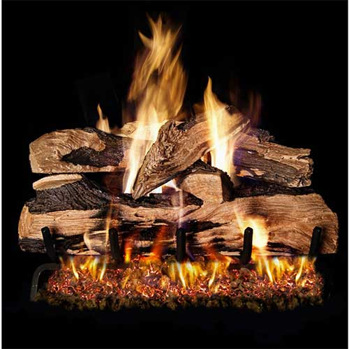 4. Peterson Real Fyre 24-inch Split Oak Designer Plus Log Set With Vented Natural Gas G45 Burner - Match Light