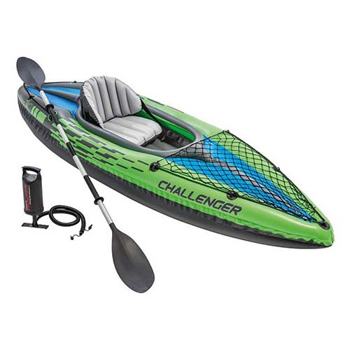 3. Intex Challenger K1 Kayak, 1-Person Inflatable Kayak Set with Aluminum Oars and High Output Air Pump