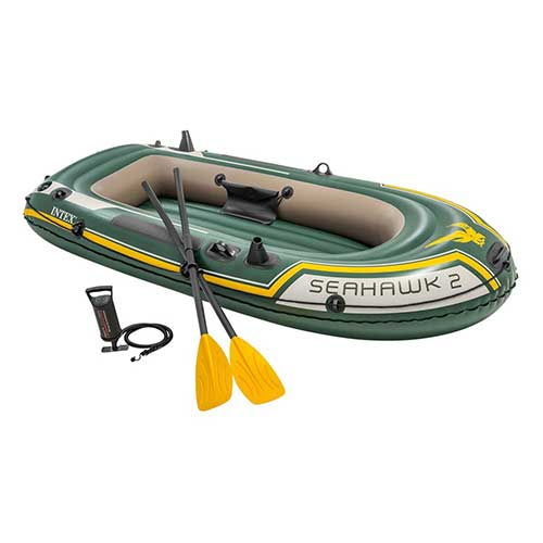 9. Intex Seahawk 2, 2-Person Inflatable Boat Set with French Oars and High Output Air Pump